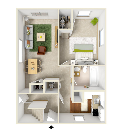 felmming creek one bedroom one bath floor plan